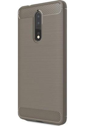 Ehr. Nokia 8 Kılıf Carbon Brushed Soft TPU Silikon Nokia 8 Kılıf Gri