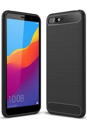 Ehr. Huawei Y6 2018 Kılıf Carbon Brushed Soft TPU Silikon Huawei Y6 2018 Kılıf Siyah