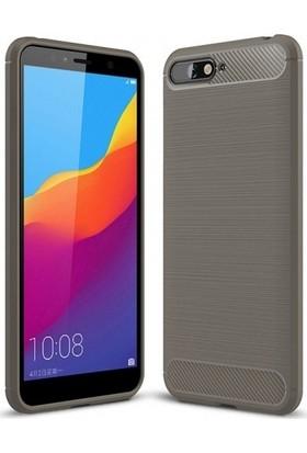 Ehr. Huawei Y6 2018 Kılıf Carbon Brushed Soft TPU Silikon Huawei Y6 2018 Kılıf Gri