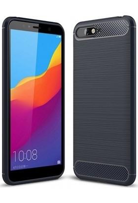 Ehr. Huawei Y6 2018 Kılıf Carbon Brushed Soft TPU Silikon Huawei Y6 2018 Kılıf Lacivert