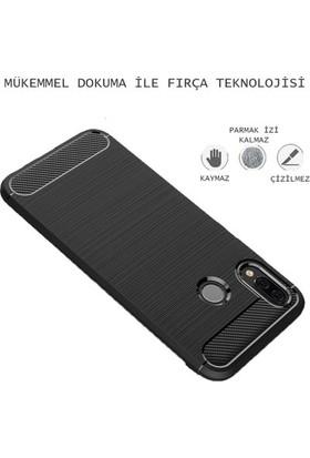 Ehr. Huawei P9 Lite Mini Kılıf Carbon Brushed Soft TPU Silikon P9 Lite Mini Kılıf Gri + Nano Ekran Koruyucu