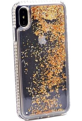 Casestore Apple iPhone X Yanları Taşlı Simli Sıvılı Silikon Kılıf Gold