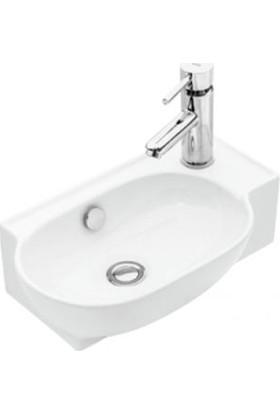 Sanovit Tezgah Üstü 45 cm Mini Yandan Çıkışlı Çanak Lavabo Beyaz Renk