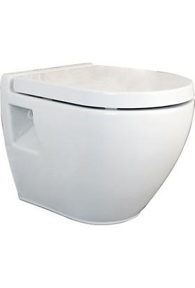 Ege Vitrifiye Dropia Asma Klozet Kanalsız Beyaz+Klozet Kapağı