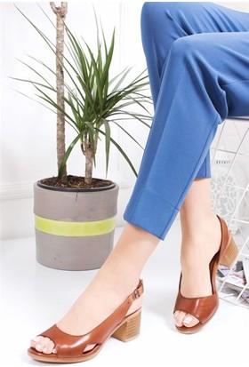 Tarçın Deri Günlük Kadın Taba Topuklu Ayakkabı TRC77-4603