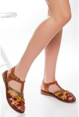 Tarçın Deri Günlük Multi-1 Kadın Sandalet Ayakkabı TRC61-3081