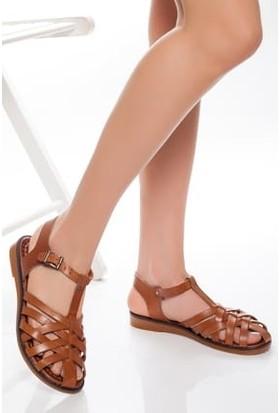 Tarçın Deri Günlük Taba Kadın Sandalet Ayakkabı TRC61-3081
