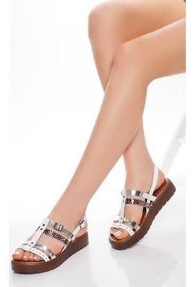 Tarçın Deri Günlük Beyaz Kadın Sandalet Ayakkabı TRC61-3111