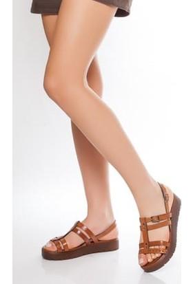 Tarçın Deri Günlük Taba Kadın Sandalet Ayakkabı TRC61-3111
