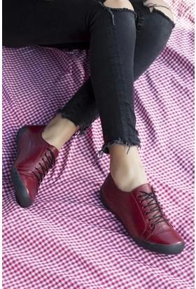 Tarçın Trc50-0503 Deri Günlük Bordo Kadın Spor Ayakkabı TRC50-0503
