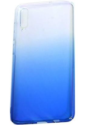 Teleplus Samsung Galaxy A50 Glaze Transparan Sert Silikon Kılıf Mavi + Nano Ekran Koruyucu