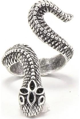 Zukcollection Antik Gümüş Kaplama Ayarlanabilir Yüzük 'ancient Snake'
