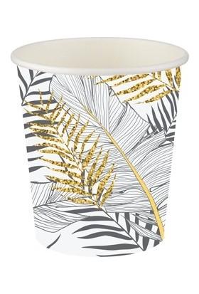 Roll-Up Karton Bardak Altın Simli Yapraklar Beyaz