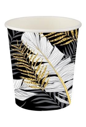 Roll-Up Karton Bardak Altın Simli Yapraklar Siyah