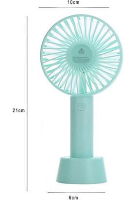 Şarjlı Fan Mini Taşınabilir El ve Masa Üstü 3 Kademeli Vantilatör Fan Turkuaz Mavi