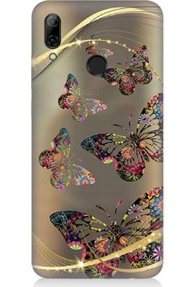 Teknomeg Huawei P Smart 2019 Renkli Kelebekler Desenli Tasarım Silikon Kılıf