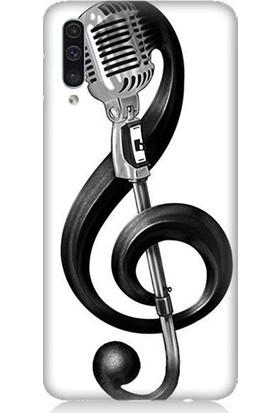 Teknomeg Samsung Galaxy A50 Sol Anahtarı Ve Mikrofon Desenli Tasarım Silikon Kılıf