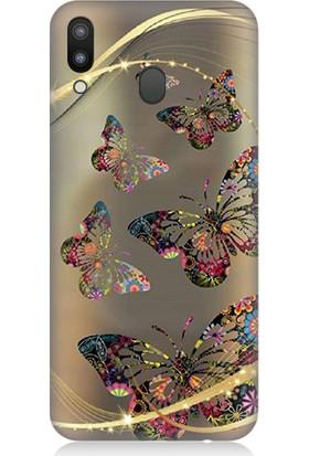 Teknomeg Samsung Galaxy M20 Renkli Kelebekler Desenli Tasarım Silikon Kılıf
