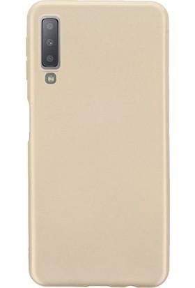 Melikzade Samsung Galaxy A7 2018 Mat İnce Silikon Kılıf Gold