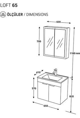 Biani Fix Loft 65 cm Banyo Dolabı Renk Mat Beyaz