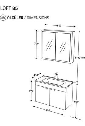 Biani Fix Loft 85 cm Banyo Dolabı Renk Mat Beyaz