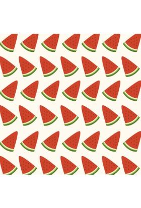 Yamamiya Dekoratif Karpuz Desenli Ahşap Bardak Altlığı 4'lü Set
