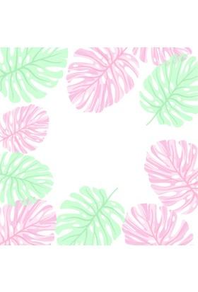 Yamamiya Dekoratif Limon ve Flamingo Desenli Ahşap Bardak Altlığı 4'lü Set