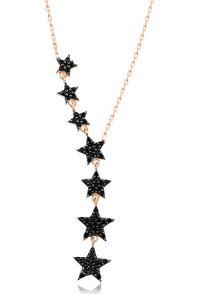 Girabella Siyah Taşlı Sarkan Sıralı Yıldız Gümüş Kolye