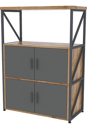 Uzay Ofis Metal Ofis Dolabı Kitaplık Raf Line 025 Kafkas Meşe-Antrasit