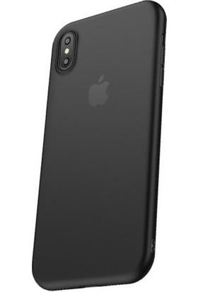 Cafele Vendas iPhone XS Açık Siyah Silikon Kılıf + Vendas Ekran Koruyucu