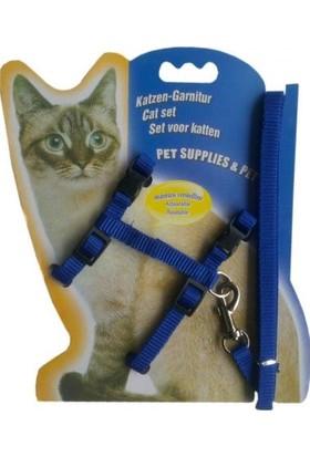 Doggie Kedi Göğüs Bel Tasma Takımı M Mavi