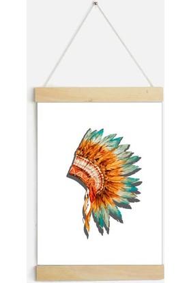 Yamamiya Kızılderili Tüylü Şapkası Zincir Askılı Kanvas Poster