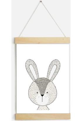 Yamamiya Tavşan Desenli Zincir Askılı Kanvas Poster
