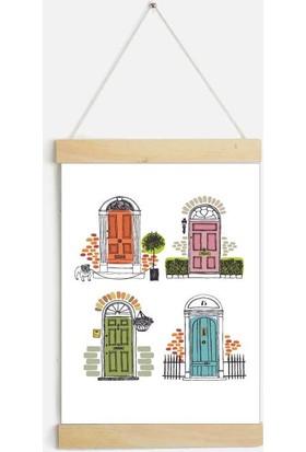 Yamamiya Dört Kapı Desenli Zincir Askılı Kanvas Poster