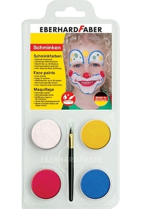 Eberhard Faber Yüz Boyası 4 Renk Palyaço Fırçalı Yüz Boyası