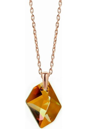 Kutaydan 925 Ayar Gümüş Swarovski Crystal Copper 6680 Kolye