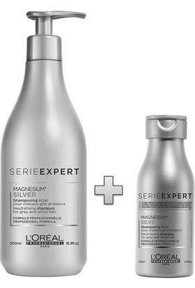 L'Oréal Professionnel Serie Expert Silver Beyaz ve Gri Saçlar İçin Saç Bakım Şampuanı 500ML ve L'Oréal Professionnel Serie Expert Silver Şampuan 100 ml