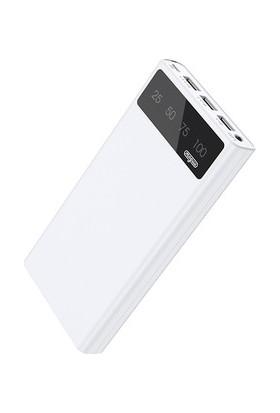 Joyroom Moguu LED Dijital Ekran 30000 mAh Universal Taşınabilir İnce Power Bank Hızlı Şarj Aleti MGD-005 Beyaz