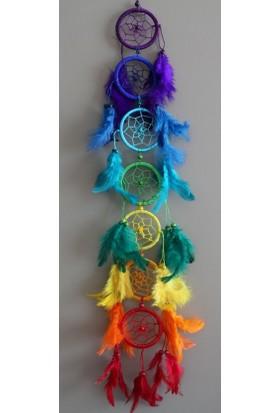 Mnt Yedi Çakra Renkli Bol Tüylü Rüya Kapanı - 66 cm Uzunluk