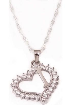 Tesbihayal Gümüş İ Harfi Kalpli Bayan Kolye