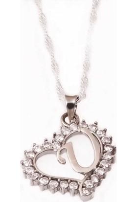 Tesbihayal Gümüş U Harfi Kalpli Bayan Kolye