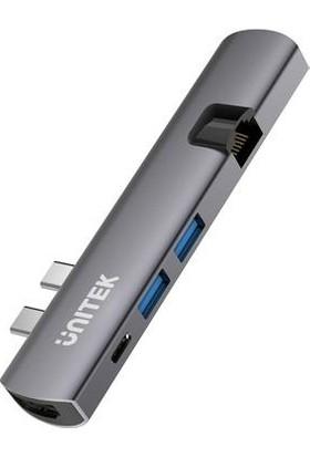 Unitek Thunderbolt 3 / HDMI / Ethernet Bağlantı Noktalı Çift USB C Hub (Macbook Için)