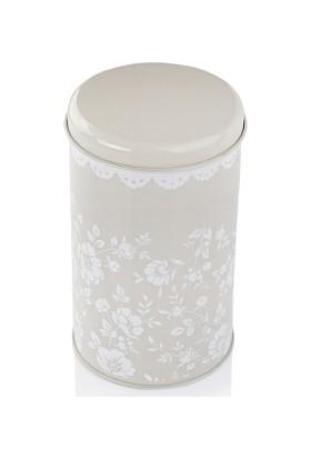 White & Begie Floral Silindir Metal Kutu 9 x 15 cm