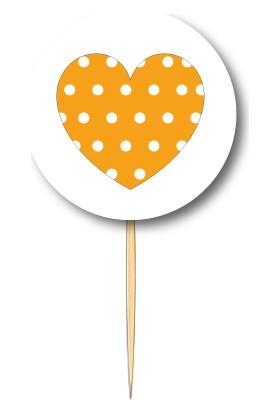 Pasta Cumhuriyeti Turuncu Puantiyeli Kalp Kürdan 10lu