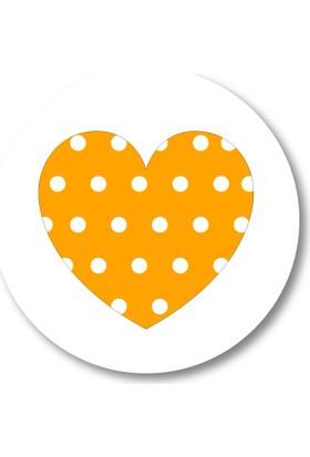 Cici Turuncu Puantiyeli Kalp Sticker Etiket 3x3 cm 20li