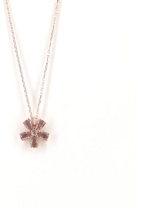 Hirase Taşlı Çiçek Gümüş Kolye 925 Ayar