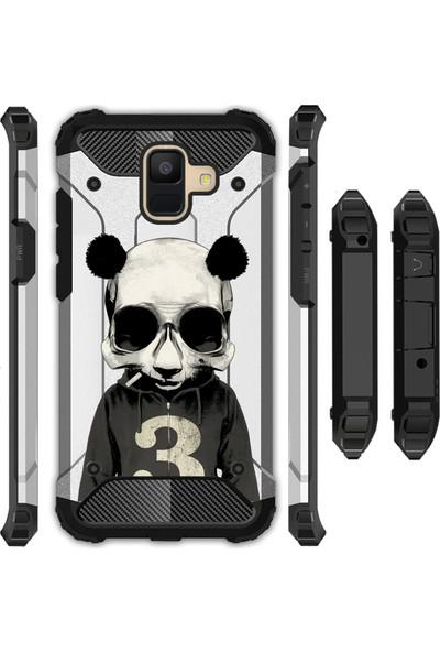 Cekuonline Samsung Galaxy A6 2018 Kılıf Desenli Armor Antishock Zırh Panzer Arka Kapak - Skull Panda