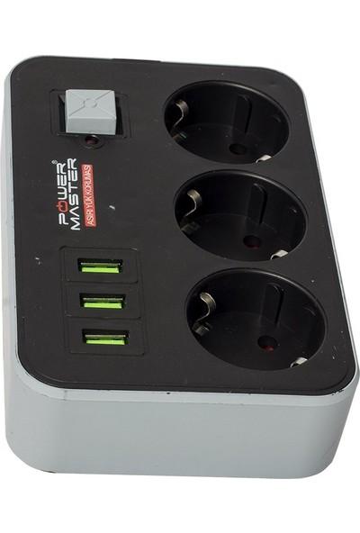 Powermaster 3 Usb Girişli 3'Lü 1.8 Metre Akım Korumalı Priz