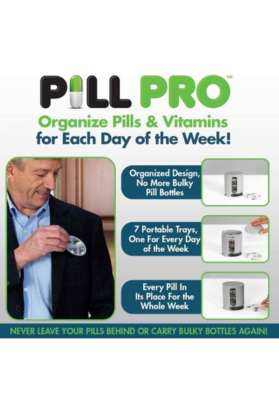 Pill Pro Haftalık 4 Bölmeli İlaç Kutusu