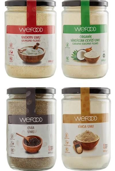 Wefood Kinoa Unu 330 gr + Chia Unu 250 gr + Badem Unu 350 gr + Organik Hindistan Cevizi Unu 320 gr